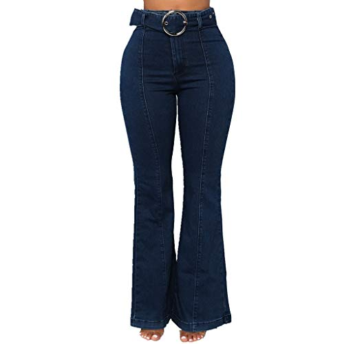 Easy Flare Jeans - Ladies Trousers Jiayit Fashion Women High Waist Elastic Plus Loose Denim Pocket Button Casual Flare pants Pant Jeans