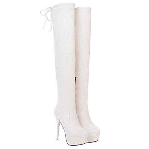 AIYOUMEI Damen Winter Stiletto Einfarbig Overknee Stiefel mit Plateau und Schnürung Winter Warm Langschaft Stiefel 8MMmR86we