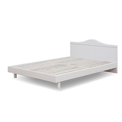 ベッド ダブルベッド フレーム単体 ヘッドボード パネル すのこベッド シンプル (ホワイト) [並行輸入品] B01HPJ3GSG ホワイト