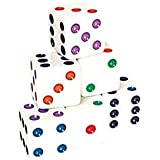 Dice with Colored Pips (Set of 200), White, 16mm