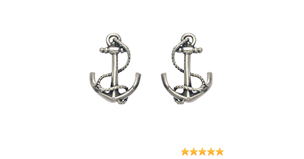 19 x 11 mm stamped 925 sterling silver boat anchor 1pc or more elaborate 3D ship anchor with rope fancy smooth nautical charm