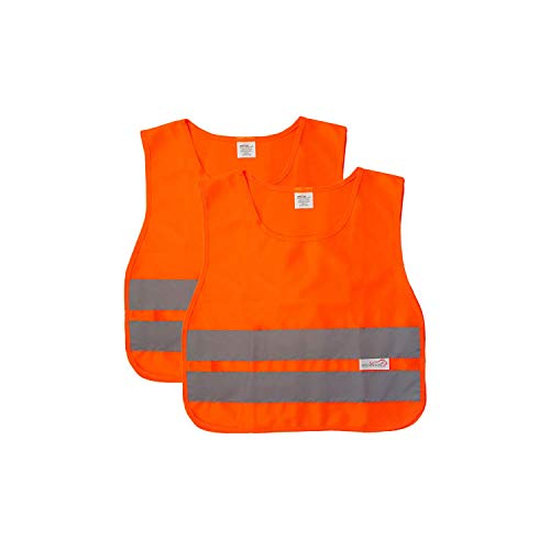 (SAFE HANDLER Child Reflective Safety Vest | Lightweight and breathable, bright colors for child public safety, 100% polyester, Yellow, Medium, 2 PACK)