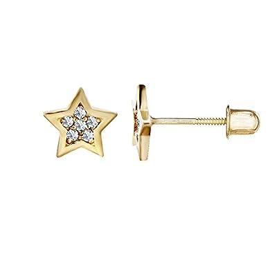 14kt Solid Gold Kids Star Stud Screwback Earrings by Stephanie Rockway