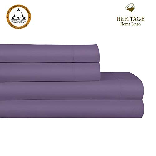 "Heritage Home Linen,1000 Thread Count 100% Egyptian Cotton Bed Sheet Set,4pc Luxury Bedding Sheets Ultra Soft Yarns,Solid Sateen Weave,Deep Pockets Upto 18"" Wrinkle,Fade,Stain Resistant-King, Plum"
