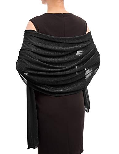 Women Pashmina Shawl Wrap Scarf Blanket for Bridal Wedding Dresses Black