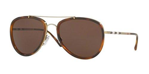 Burberry BE3090Q 116773 Brushed Gold / Light Havana BE3090Q Aviator - Aviator Sunglasses Burberry