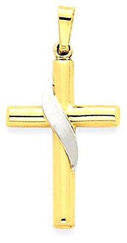14k Gold Methodist Cross Pendant (ICE CARATS 14k Two Tone Yellow Gold Cross Religious Pendant Charm Necklace Methodist Fine Jewelry Gift Set For Women Heart)