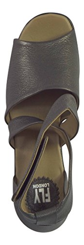 Fly London Hink Luxury Moose Leather Womens' Peep Toe Sandals (40 EU / 7 UK, Graphite Grey)