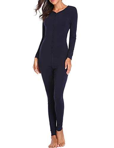 Lusofie Womens Cotton Thermals Adult Onesie Henley Thermal Underwear Union Suit (Navy Blue, XL)