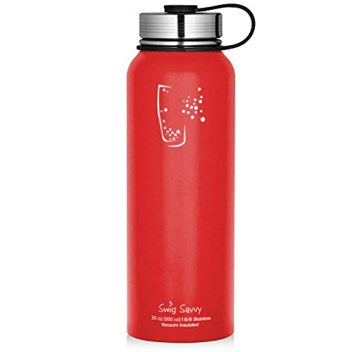 SWIG SAVVY Stainless Steel Sports Water Bottle - with Vacuum Insulated Double Wall & Wide Mouth Leak Proof Cap - Reusable Sweat Proof Thermos Flask for Hot & Cold Drinks - BPA Free - 30oz | Red