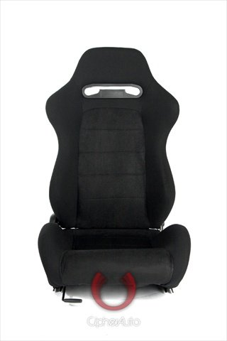 Cipher Auto Black Cloth with Suede Insert Universal Racing Seats CPA1013 Two Seats
