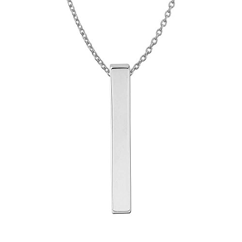 (Sterling Silver Plain Vertical Bar Pendant Necklace,)