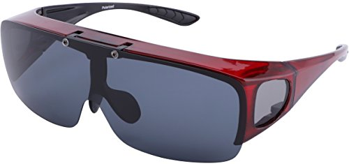 TINHAO Mens Polarized Flip Up Fitover Sunglasses with Mirrored Lenses (Wine Red, ()