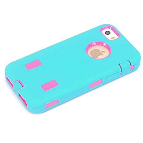 iPhone 5S hülle,iPhone 5 hülle,iPhone SE hülle,Lantier Robot Heavy Duty Dual Layer Soft Touch Stoß Schutzhülle mit harter PC Inner für Apple iPhone 5 5S SE Sky-blue + Hot Pink