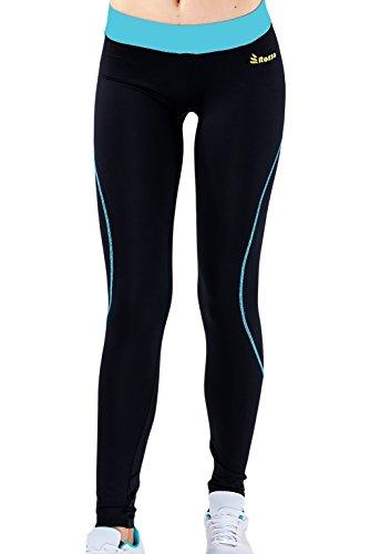 sportive collant lunghe Donne di rally TURQUESA Leggins turchese opaco vita pantaloni larghi elastica Lycra nero ROSSO palestra sportiva in esecuzione yoga pilates Fitness Corsa