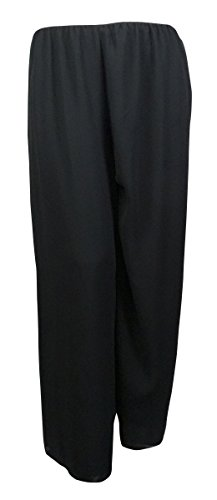 Alex Evenings Women's Wide Leg Crepe Pants (3X, Black)
