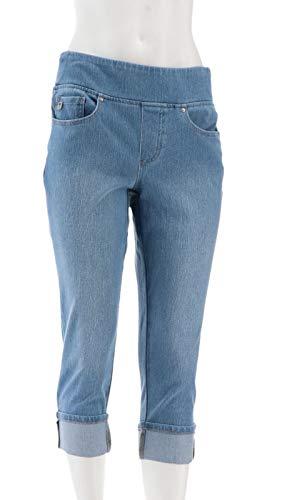 Denim Belle - Belle Kim Gravel Petite Flexibelle Cuffed Jeans Light Wash 16P New A345863