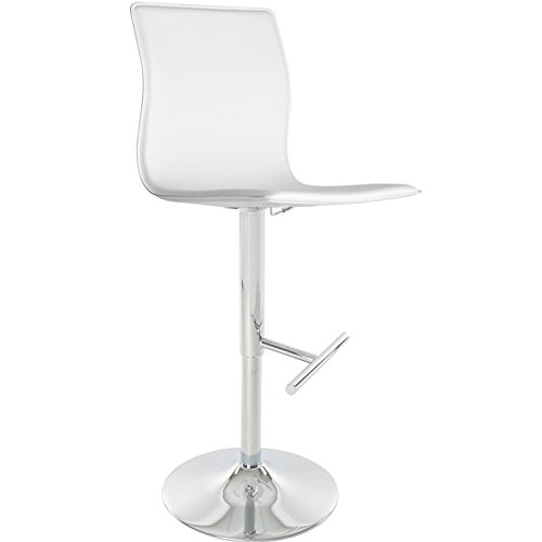 ModHaus Living Mid Century Modern Faux Leather Upholstery Swivel Stool with Chrome Metal Base - Includes Pen (White)