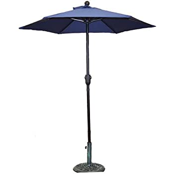 6.5u0027 Navy Blue Patio Umbrella   Outdoor Metal Market Umbrella With Crank  Product SKU: