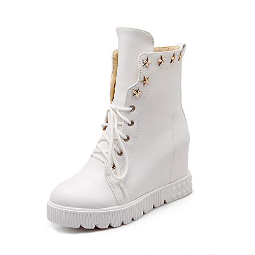 White 6 US White 6 US Women's Fashion Boots PU(Polyurethane) Winter Boots Wedge Heel Round Toe Mid-Calf Boots White Black