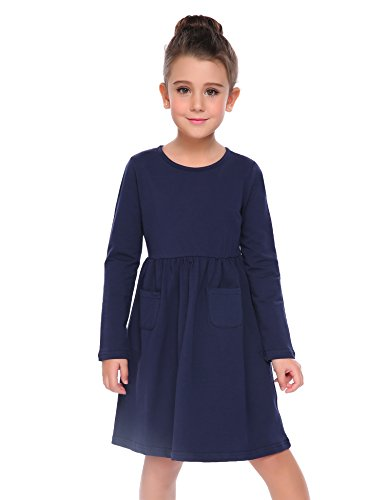 Arshiner Little Girls Long Sleeve Solid Color Casual Skater (Girls Navy Blue Dress)