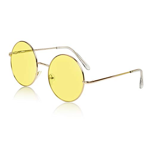 Sunny Pro Designer Large Sunglasses Colored Lens Round Glasses For Women Yellow