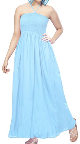 Buy light blue and brown dress - 3