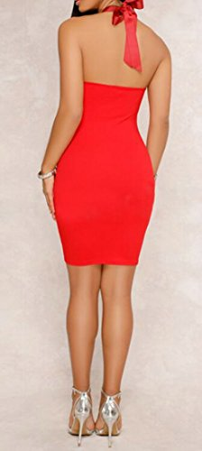 Cromoncent Femmes Bodycon Classique Coupé Robes Midi Licol Rouge Dos Nu