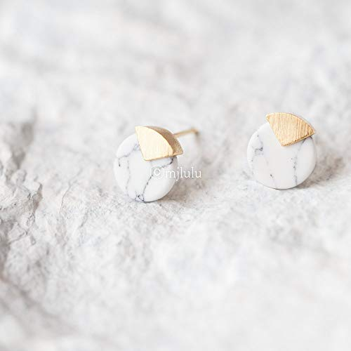 Tiny White Simulated Howlite Circle Coin Marble Pattern Stud Earrings