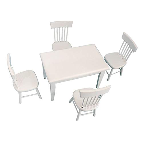 lotus.flower 5pcs 1:12 Dollhouse Miniature Dining Table Chair Wooden Furniture Set (White)