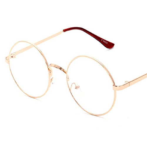 Glass Round Rose (Stuffwholesale Metal Frame Clear Lens Round Circle Eye Glasses 5.42inch (Rose gold frame))