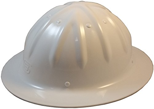 Original SkullBucket Aluminum Hard Hats, Full Brim with Ratchet Suspensions White