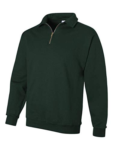 - Jerzees mens 9.5 oz. 50/50 Super Sweats NuBlend Fleece Quarter-Zip Pullover(4528)-FOREST GREEN-L