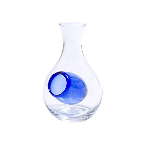 JapanBargain S-2619, Glass Sake Bottle with Hole Blue, 6.5-inch H 12oz - Glass Sake Bottle