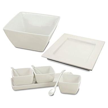 KOVOT 9 Piece Ceramic Entertaining Serving Set - (1) Platter, (1) Bowl, (3) Mini Dishes, (3) Spoons), (1) Mini Dish Tray