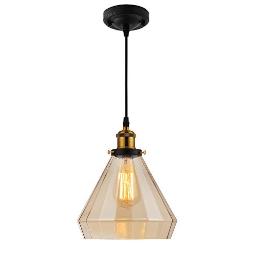 Farmhouse Lighting Fixture in Antique Brass Finish, Vintage Modern Pendant Lights for Kitchen Island Restaurant Café, Edison Glass Kitchen Pendant Light Height Adjustable