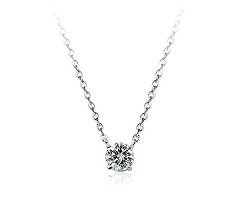 AAA Cubic Zirconia Crystal Ornate Round 6mmx6mm Zirconia Solitaire Pendant Necklace Fashion Jewelry for Women (Platinum Plated) ()