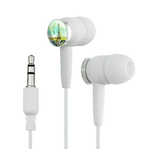 Watercolor Paris Eiffel Tower France Novelty In-Ear Earbud Headphones - White