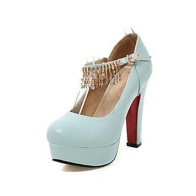 Talones de las mujeres Primavera Verano Otoño Invierno Club de los zapatos de la PU de oficina y carrera del partido y vestido de noche tacón grueso cristal BuckleBlack Azul Rosa Blue