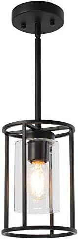VINLUZ Farmhouse Pendant Lighting Black Mini 1-Light Fixtures with Glass Shade Contemporary Modern Kitchen Island Lights Ceiling Hanging Chandeliers for Dining Room Hallway Foyer