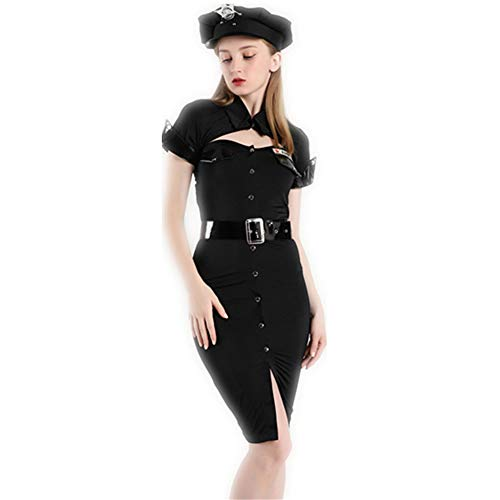 Conjointed Instructeur Cosplay Masquerade Sijux Costume Jupe Femmes Noir Costume Party Rave Policewoman Performance Halloween SpYxpqUf