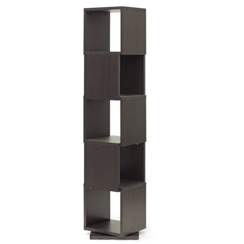 Baxton Studio Ogden 5-Level Rotating Modern Bookshelf, Dark Brown (Display Storage Mirror It)
