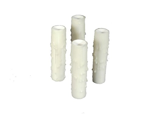 Set of 4 pc. 3' Tall White Candelabra Thin 3/4' Inner Diameter Base Beeswax Candle Covers, Socket Sleeves Chandelier Socket Covers