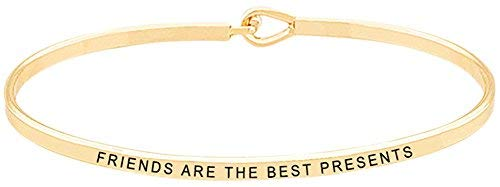 Glamour Girl Gifts Collection Friends are The Best Presents Inspirational Mantra Bangle Bracelet for Best Friends, BFF Besties (Gold)