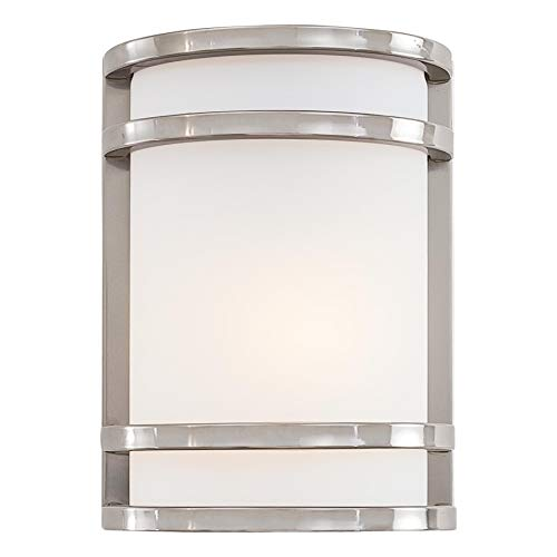 Minka Lavery Outdoor Wall Light 9801-144-PL Bay View Exterior Pocket Sconce Lantern, 13 Watts Fluorescent, Steel