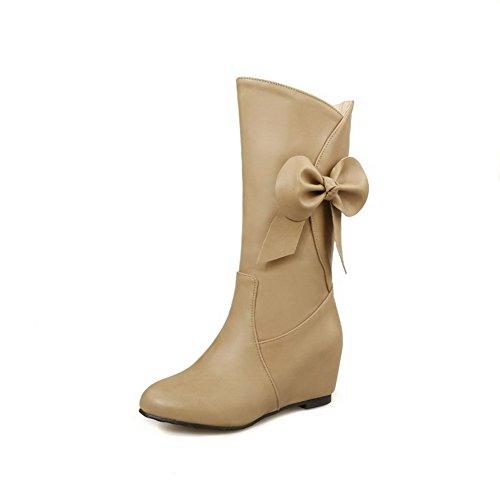 Solide Klettverschluss Damen hohem mit AgooLar Absatz Mid Top Stiefel PU qUIfaw6T
