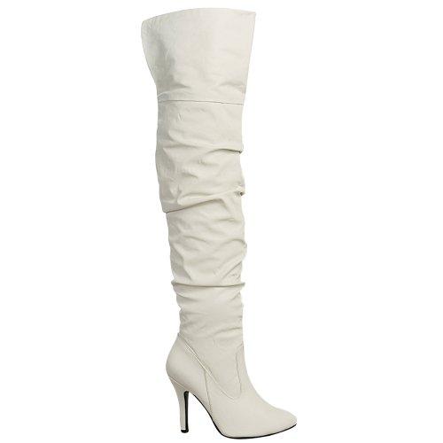 Altijd Vrouwen Puntige Teen Hoge Naaldhak Over De Knie Dijbeenstijl Focus-33 Wit