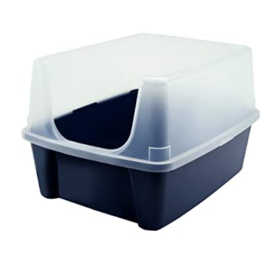 Cat Box IRIS Open-Top Cat Litter Box with Clear High-Shield Without Scoop, Navy [tag]