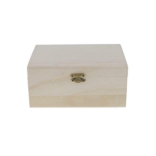 (MOPOLIS Plain Natural Wood DIY Unfinished Jewelry Box Case Unpainted Home Crafts (Item - #2(17.5x8x12.5cm)))