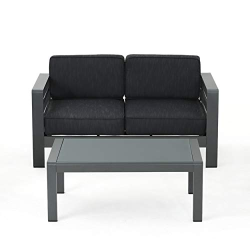 Christopher Knight Home Cybele Doris Outdoor Grey Aluminum Loveseat and Coffee Table Set with Dark Grey Water Resistant ()